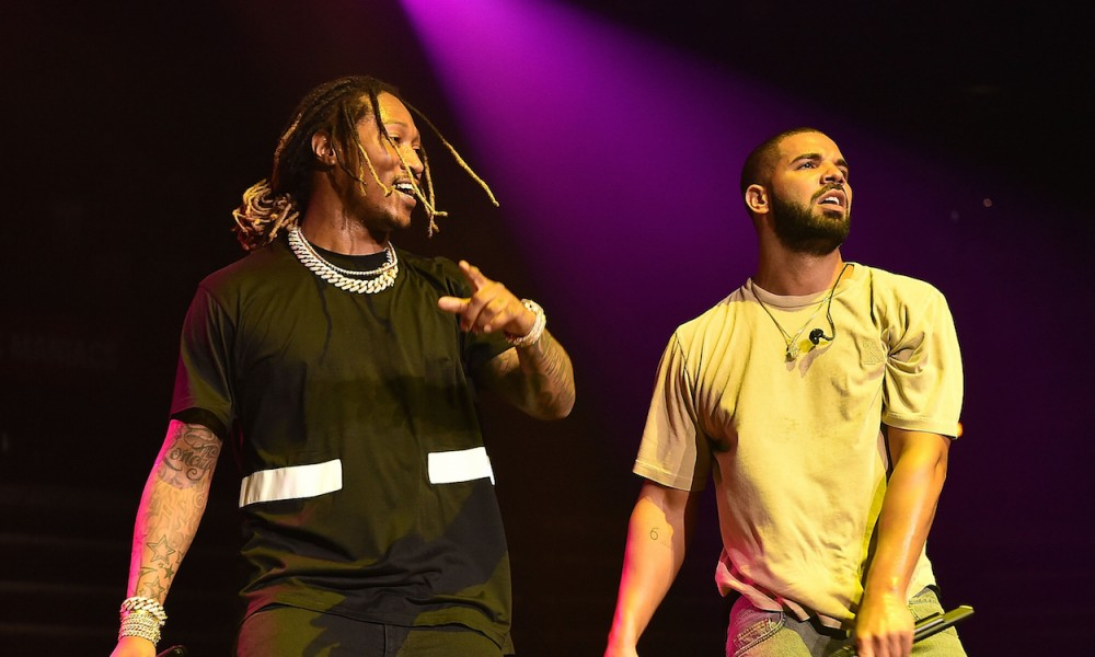 ATLANTA, GA - JUNE 20:  Future and Drake perform onstage at Hot 107.9 Birthday Bash Block Show at Phillips Arena on June 20, 2015 in Atlanta, Georgia.  (Photo by Paras Griffin/Getty Images)
